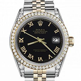 Women's Rolex 31mm Datejust Two Tone Bezel & Lugs Black Roman Numeral Dial Hidden Clasp