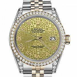 Women's Rolex 31mm Datejust Two Tone Bezel & Lugs Champagne Gold Jubilee Roman Numeral Dial Hidden Clasp