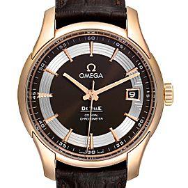 Omega DeVille Hour Vision 18k Rose Gold Watch 431.63.41.21.13.001 Unworn