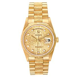 Rolex President Day-Date Yellow Gold Bark Diamond Dial Mens Watch