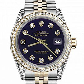 Women's Rolex 31mm Datejust Two Tone Bezel & Lugs Purple Color Dial with Accent Hidden Clasp