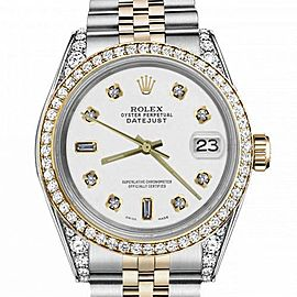 Women's Rolex 31mm Datejust Two Tone Bezel & Lugs White Color Dial with 8 + 2 Accen Hidden Clasp