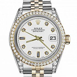 Women's Rolex 31mm Datejust Two Tone Bezel & Lugs White Color Dial with 8+2 Accent RRT Hidden Clasp