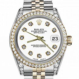 Women's Rolex 31mm Datejust Two Tone Bezel & Lugs White Color Dial with Diamonds Hidden Clasp