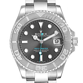 Rolex Yachtmaster 37 Midsize Steel Platinum Mens Watch 268622 Box Card