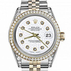 Women's Rolex 31mm Datejust Two Tone Bezel & Lugs White Color Jubilee Dial with Diamonds Hidden Clasp