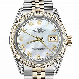 Women's Rolex 31mm Datejust Two Tone Bezel & Lugs White MOP Mother Of Pearl Roman Numeral Dia Hidden Clasp