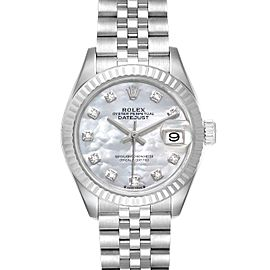 Rolex Datejust 28 Steel White Gold MOP Diamond Ladies Watch 279174 Box Card