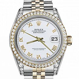 Women's Rolex 31mm Datejust Two Tone Bezel & Lugs White Roman Numeral Dial Hidden Clasp