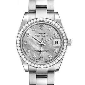 Rolex Datejust Midsize Steel White Gold Golddust Diamond Watch 178384 Unworn