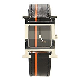 Hermes Heure H Quartz Watch Stainless Steel and Striped Leather 21