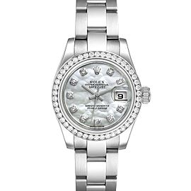 Rolex Datejust Steel White Gold MOP Diamond Ladies Watch 179384 Unworn