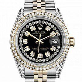 Women's Rolex 31mm Datejust Two Tone Bezel & Lugs Black String Accent Dial SP Hidden Clasp