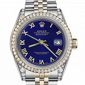 Women's Rolex 31mm Datejust Two Tone Bezel & Lugs Blue Color Roman Numeral Dial Hidden Clasp