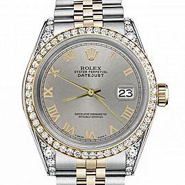 Women's Rolex 31mm Datejust Two Tone Bezel & Lugs Slate Grey Roman Numeral Dial Hidden Clasp