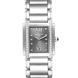 Patek Philippe Twenty-4 Grey Diamond Dial Steel Ladies Watch 4910