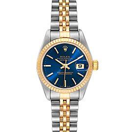 Rolex Datejust Steel 18k Yellow Gold Blue Dial Ladies Watch 79173