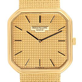 Patek Philippe Yellow Gold Linen Pattern Dial Mechanical Mens Watch 3854