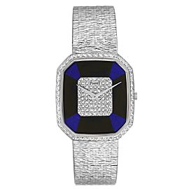 Piaget White Gold Onyx Lapis Lazuri Dial Diamond Vintage Cocktail Watch 9795