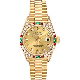 Rolex President Datejust Yellow Gold Diamond Ruby Emerald Watch 69038