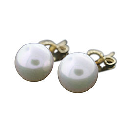 Mikimoto Blue Lagoon 14K Yellow Gold Akoya Pearl Stud Earrings