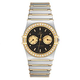 Omega Constellation Day Date Steel Yellow Gold Diamond Mens Watch