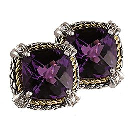 Andrea Candela 925 Sterling Silver & 18K Yellow Gold with Amethyst, 0.20ct Diamond Earrings