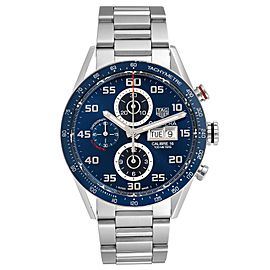Tag Heuer Carrera Blue Dial Chronograph Steel Mens Watch CV2A1V Box Card