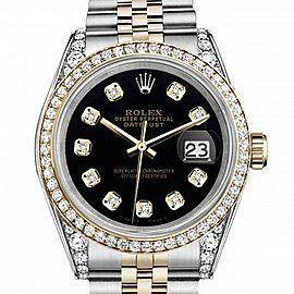 Men's Rolex 36mm Datejust Two Tone Bezel & Lugs Black Color Dial with Diamonds Hidden Clasp
