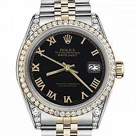 Men's Rolex 36mm Datejust Two Tone Bezel & Lugs Black Roman Numeral Dial Hidden Clasp