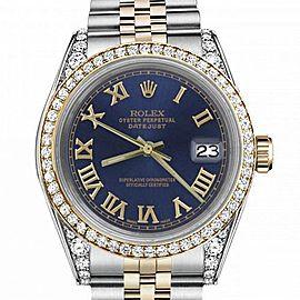 Men's Rolex 36mm Datejust Two Tone Bezel & Lugs Blue Color Roman Numeral Dial Hidden Clasp