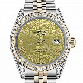 Men's Rolex 36mm Datejust Two Tone Bezel & Lugs Champagne Gold Jubilee Roman Numeral Dial Hidden Clasp