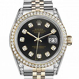 Men's Rolex 36mm Datejust Two Tone Bezel & Lugs Chocolate Dial with Accent Hidden Clasp