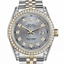 Men's Rolex 36mm Datejust Two Tone Bezel & Lugs Grey Color Dial with Accent RT Hidden Clasp
