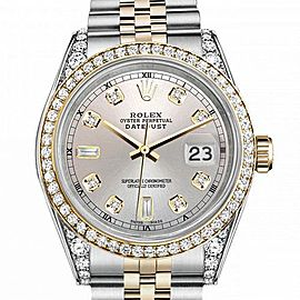 Men's Rolex 36mm Datejust Two Tone Bezel & Lugs Silver Color Dial with 8 + 2 Accent Hidden Clasp