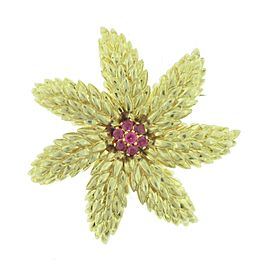 Tiffany & Co. 18K Yellow Gold and Ruby Brooch