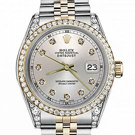 Men's Rolex 36mm Datejust Two Tone Bezel & Lugs Silver Color Dial with Accent RT Hidden Clasp