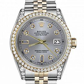 Men's Rolex 36mm Datejust Two Tone Bezel & Lugs Slate Grey Color Dial with 8 + 2 Accent Hidden Clasp