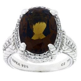 Judith Ripka Sterling Silver Smokey Quartz & CZ Ring
