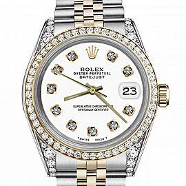 Men's Rolex 36mm Datejust Two Tone Bezel & Lugs White Color Dial with Diamonds Hidden Clasp