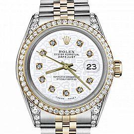 Men's Rolex 36mm Datejust Two Tone Bezel & Lugs White Color Jubilee Dial with Diamonds Hidden Clasp