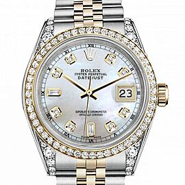 Men's Rolex 36mm Datejust Two Tone Bezel & Lugs White MOP Mother Of Pearl Dial Accen Hidden Clasp
