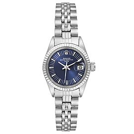 Rolex Date Stainless Steel Blue Dial Fluted Bezel Ladies Watch