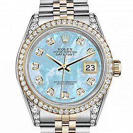 Men's Rolex 36mm Datejust Two Tone Bezel & Lugs Baby Blue MOP Mother Of Pearl Dial with Accent Hidden Clasp
