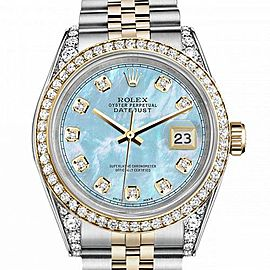 Men's Rolex 36mm Datejust Two Tone Bezel & Lugs Baby Blue MOP Mother Of Pearl Dial with RRT Hidden Clasp