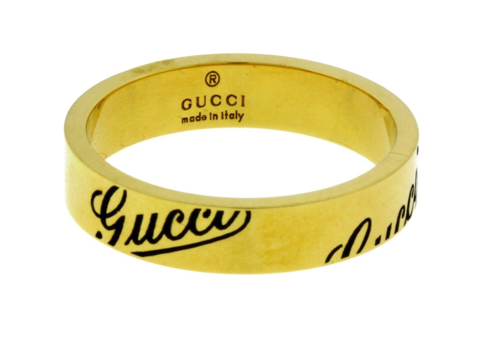 Gucci 18K Yellow Gold Logo Band Ring Gucci Buy at TrueFacet