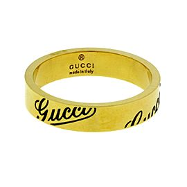 Gucci 18K Yellow Gold Logo Band Ring