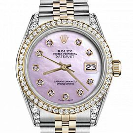 Men's Rolex 36mm Datejust Two Tone Bezel & Lugs Pink MOP Mother Of Pearl Dial Hidden Clasp