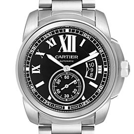 Calibre De Cartier Stainless Steel Black Dial Mens Watch