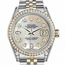 Men's Rolex 36mm Datejust Two Tone Bezel & Lugs White MOP Mother Of Pearl 8 + 2 Dial Hidden Clasp